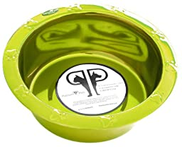 Platinum Pets 4-Cup Stainless Steel Wide Rimmed Bowl, Corona Lime