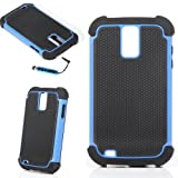 ATC BLUE/BLACK TRIM IMPACT 2-PIECE COMBO HARD CASE COVER SAMSUNG GALAXY S II T989 TMOBILE WITH SCREEN TOUCH PEN/STYLUS