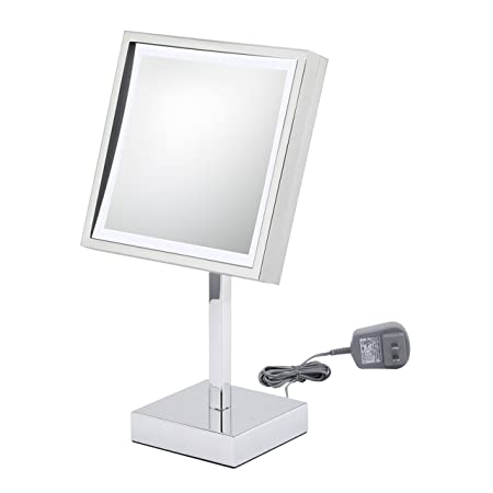 Kimball & Young 71243 Single-Sided LED Square Vanity Mirror with 6-Feet Power Cord, qChrome