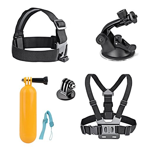 AKASO 7 in 1 Sports Action Camera Accessory Bundle Kits For Gopro Hero Sports Camera - Head Strap Chest Belt+ Folating Mount + Auto Suction Cup (Head Strap Camera compare prices)