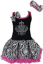 Kirei Sui Girls Black Hot Pink Damask Rhinestone Chandelier Tutu Dressand Headband