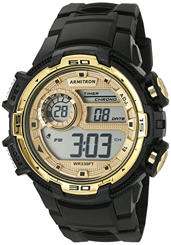 Armitron Sport Men's 40/8347BKGD Gold-Tone Accented Digital Chronograph Black Resin Strap Watch (Top Digital Watches compare prices)