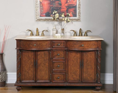 "60"" Bathroom Furniture Travertine Top Double Sink Vanity Cabinet 193T"