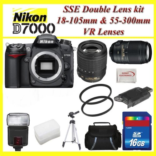 Nikon D7000 3.0-Inch LCD 16.2MP DX-Format CMOS Digital SLR (Black) with Nikon 18-105mm f/3.5-5.6G ED VR AF-S DX Nikkor Autofocus Lens and Nikon AF-S NIKKOR 55-300mm f/4.5-5.6G ED VR Zoom Lens + SSE Best Value 16GB, Flash, Lens+ Much more!