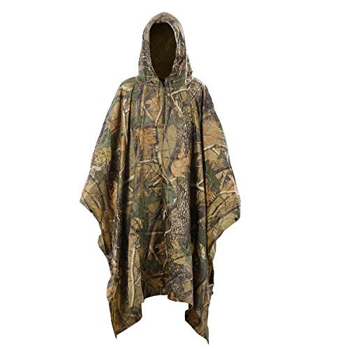 Covenov Multifunction Military Camouflage Rain Poncho Rainwear Packable Raincoat
