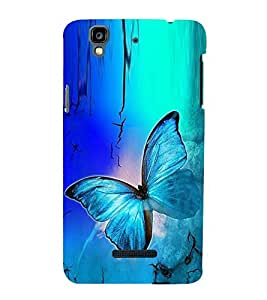 Fuson Premium Back Case Cover Colourful Butterfly With Yellow Background Degined For YU Yureka::Micromax Yureka AO5510