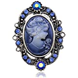 Royal Blue Cameo Brooch Pin Charm for Women Necklace Pendant Compatible