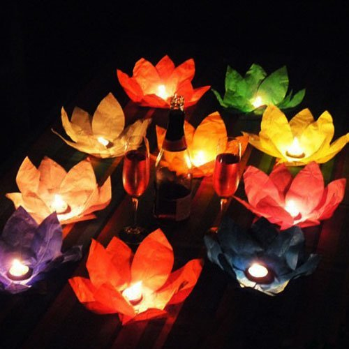 EWIN(R) 10PCS Mix Color Flower Lotus Chinese Lanterns Wishing Floating Water Light Paper