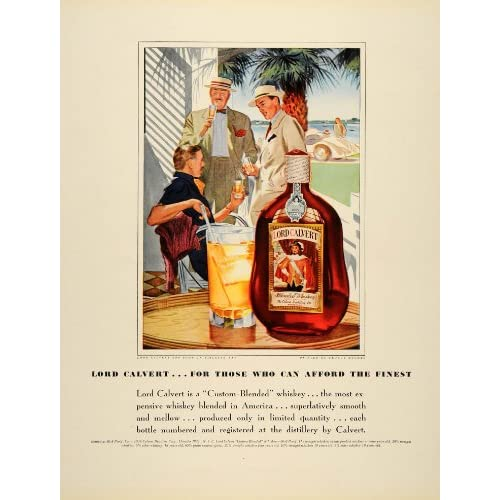 1939 Ad Lord Calvert Whiskey Antique Bottle Liquor   Original Print Ad