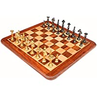 "StonKraft 15"" X 15″ Collectible Rosewood Wooden Chess Game Board Set+ Brass Figure Pieces (Delivery ≪ 7 Days)"