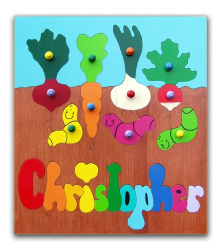 Cheap KidPuzzles Personalized Wooden Name Puzzle Gardening with Worms (B00564HL1G)