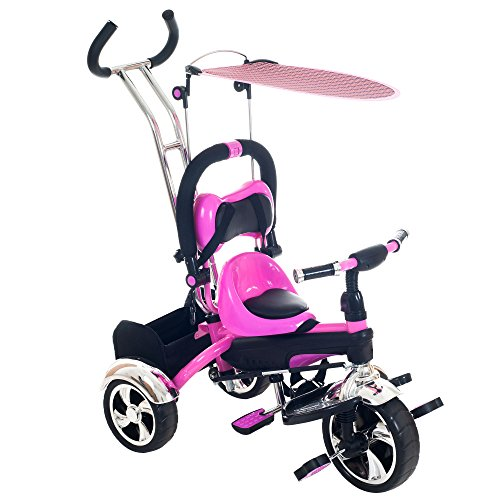 Lil-Rider-2-in-1-Stroller-Tricycle-Child-Safe-Trike-Trainer-Pink
