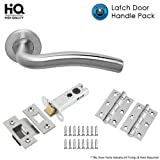 Polished Stainless steel Designer lever Door Handles on Round Rose - Tubular Tubular Latch Pack Set with Hinges