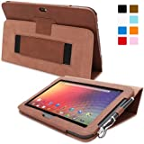 Snugg™ Nexus 10 Case - Smart Cover with Flip Stand & Lifetime Guarantee (Distressed Brown Leather) for Nexus 10