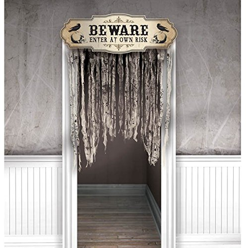 Amscan-Dreadful-Boneyard-Halloween-Party-Beware-Door-Curtain-Decoration-Brown-55-x-39