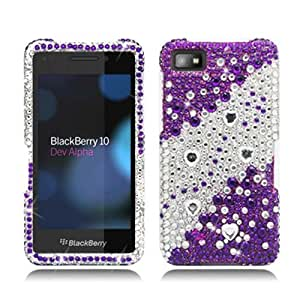 Aimo BB10PCLDI661 Dazzling Diamond Bling Case for BlackBerry Z10 - Retail Packaging - Divide Purple