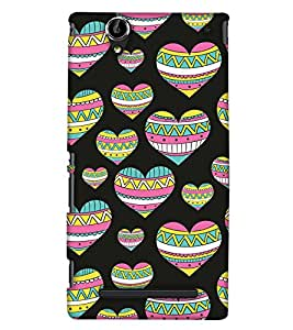 PrintHaat Designer Back Case Cover for Sony Xperia T2 Ultra :: Sony Xperia T2 Ultra Dual SIM D5322 :: Sony Xperia T2 Ultra XM50h (designer pattern :: decorative design :: zig zag design :: multicolor design :: latest trendy design :: excellent drawing design :: good looking art design :: in black, green, red, blue and yellow)