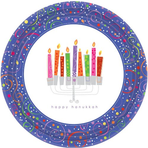 Hanukkah Playful Menorah - Dessert Plates (8) Party Supplies - 1