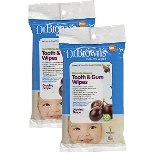 Dr. Brown's Tooth and Gum Wipes - Glowing Grape - 30 Pk (Set of Two)