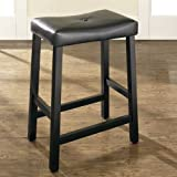 (Set of 2) Upholstered Saddle Seat Bar Stool in Black Finish with 24 Inch S ....