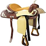 """16"""" Western Style Horse Saddle Trail Riding Equestrian Saddle (Leather with Caramel Suede Seat Design)"""