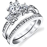 Sterling Silver Cubic Zirconia 1.15 Carat TW Round Cut Wedding Engagement Ring 2 Piece Set Band