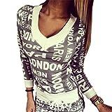 Baymate Damen V-Ausschnitt Drucken Casual Sportswear...