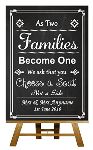 Chalkboard Style Pick A Seat Not A Side Personalized Wedding Sign (Pick A Side Sign compare prices)