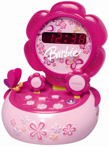 Barbie Hour Garden Talking Alarm Clock with AM/FM Radio and Nightlight