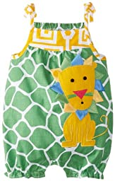 Mud Pie Baby-Girls Newborn Lion Romper, Green/Yellow, 0-6 Months