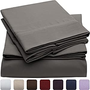 #1 Duvet Cover Sets on Amazon - Super Silky Soft - SALE - HIGHEST QUALITY 100% Brushed Microfiber 1800 Bedding Collections - Luxury Duvet Cover and Pillow Shams - Perfect for Comforter Sets - Wrinkle, Fade, Stain Resistant - Hypoallergenic - Best For Bedroom, Guest Room, Childrens Bed Covers Coordinates, RV, Vacation Home, Bed in a Bag Addition - LIFETIME MONEY BACK GUARANTEE - Mellanni (Full / Queen, Gray)