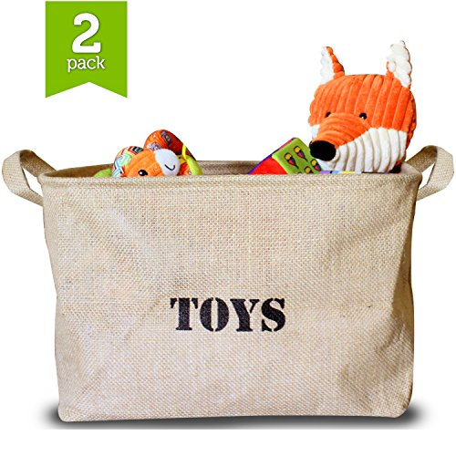 Buy Bargain Ziggy Baby - 2 Pack - Jute Toy Storage Bin, 2-Sided Reversible Design with Toys & St...