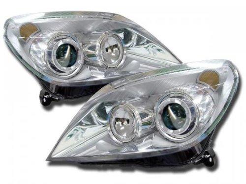 Phares Angel Eyes set pour Opel Astra (type H) année 04-10 chrome RHD/LHD