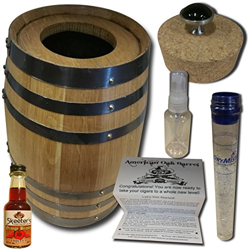 Cigar Barrel Infusion Humidor From American Oak Barrel - Orange Brandy Infusion Kit (5 Liter, Natural Oak With Black Hoops)