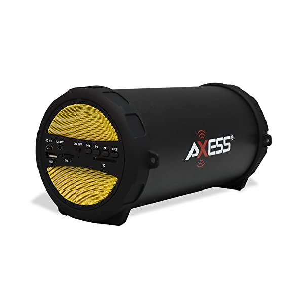 AXESS SPBT1041 Portable Thunder Sonic Bluetooth Cylinder Loud Speaker with Built-In FM Radio, SD Card, USB, AUX Inputs in Yellow (Color: Yellow, Tamaño: 10.5in. x 6.25in. x 5.5in.)