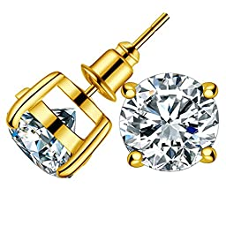 Anmao 10mm Fashion Earrings Studs for Women Jewelry of Gold Plating  Round Cubic Zirconia Stud Earrings Wedding Jewelry with a Beautiful Box CRER02
