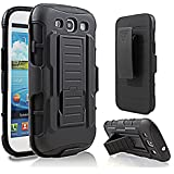 Galaxy S3 Case, Samsung galaxy S3 i9300 Case Starshop(TM) Hybrid Full Protection High Impact Dual Layer Holster Case with Kickstand and Locking Belt Swivel Clip Black
