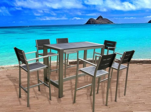 Outdoor Patio Wicker Furniture New Aluminum Resin 7-Piece Dining Bar Table & Barstool Set image