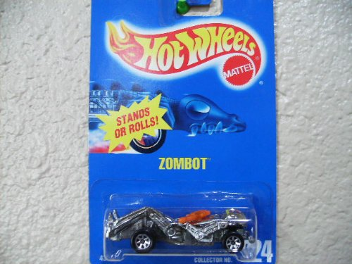 Hot Wheels Zombot #224 All Blue Card with Orange Gun and 7 Spoke Wheels - 1