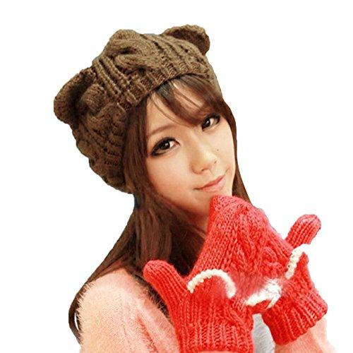 [Springwell Women's Hat Cat Ear Crochet Braided Knit Caps (one size, coffe)] (Brown Cat Ears)