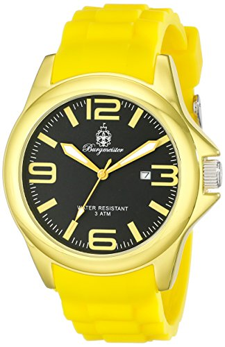 Burgmeister Fun Time Women's Quartz Watch with Black Dial Analogue Display and Yellow Silicone Strap BM166-090C