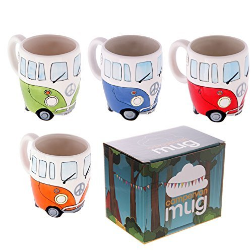 Set of 4 Camper Van Mugs, Hand Painted Blue, Red, Orange & Green