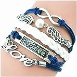 CargoMix Armband Unendlichkeit Love/ Believe und Engelsflügel mit einer Perle Blau Weiß / Infinity / besser Lederband / anhänger armband