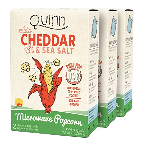Quinn Popcorn Microwave Popcorn - New Flavor - Made with Organic Non-GMO Corn - Great Snack Food for Movie Night {White Cheddar, 3 Boxes} (Gourmet Popcorn Microwave compare prices)