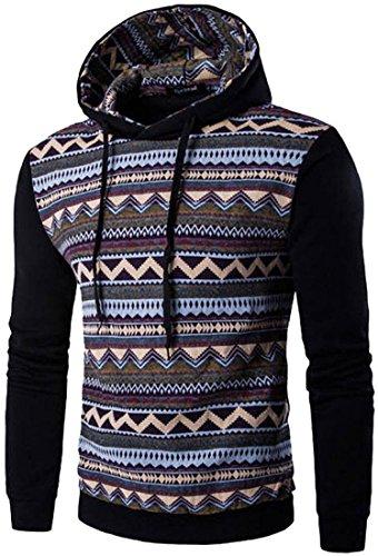 jeansian Uomo Moda Ethnic Stile Con Cappuccio Pullover Casuale Felpe Maglione Sport Tops 88F6 Black M