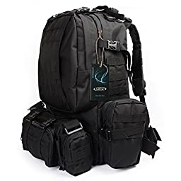 Large Tactical Backpack-Sport Outdoor Military Rucksack Hiking Camping Mountain Climbing Backpack Combined with 3 MOLLE Bags(Black)