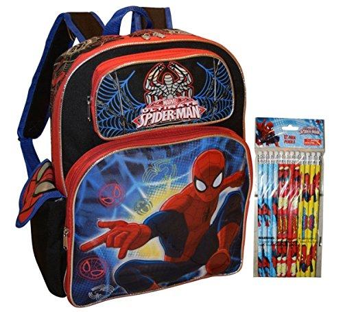 """Marvel Spiderman Deluxe 16"""" School Backpack With Bonus 12pk Pencils"""