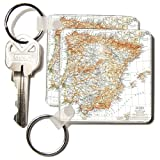 Florene - Vintage Maps - image of spain and portugal map in spanish - Key Chains