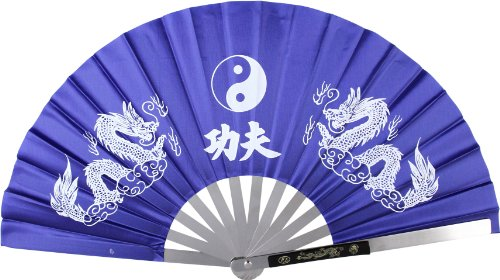 BladesUSA 2510-CBL Kung Fu Fighting Fan, Metal Frame, Blue/White, 14-3/4-Inch Length, 27-1/4-Inch Open