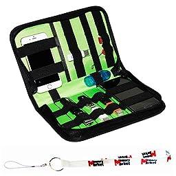 MemoryMarket Nylon Fabric Storage Holder / Wallet / Carrying Case / Bag / Organizer for USB Flash Drives/Thumb Drives/Pen Drives/Jump Drives & HDD/Power Bank/SD Card/Ipod/Cell Phone with Lanyard